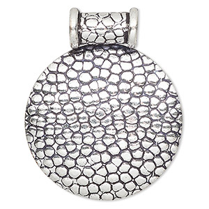 pendant, antique silver-plated copper, 47x38mm round with textured cobblestone design and tube bail. sold individually.