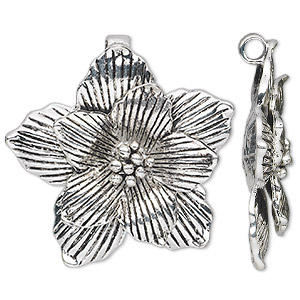 pendant, antique silver-plated pewter (zinc-based alloy), 42x42mm single-sided flower. sold individually.