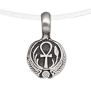 pendant, antiqued pewter (tin-based alloy), 33x19mm round with ankh and isis wings design. sold individually.