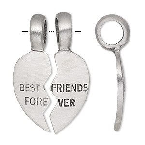 pendant, antiqued pewter (tin-based alloy), 37x22mm single-sided heart with best friends forever. sold per 2-piece set.