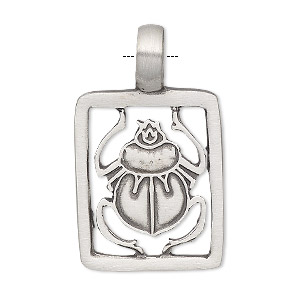 pendant, antiqued pewter (tin-based alloy), 39x23.5mm single-sided rectangle with cutout scarab. sold individually.