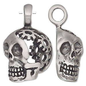 pendant, antiqued pewter (tin-based alloy), 39x26mm single-sided hollow skull with gears. sold individually.
