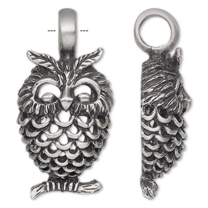 pendant, antiqued pewter (tin-based alloy), 45x22mm single-sided owl. sold individually.