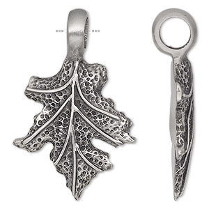 pendant, antiqued pewter (tin-based alloy), 46x29mm single-sided maple leaf. sold individually.
