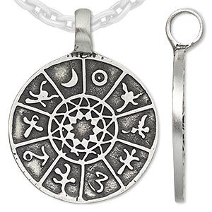 pendant, antiqued pewter (tin-based alloy), 46x36mm round with symbols. sold individually.