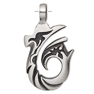 pendant, antiqued pewter (tin-based alloy), 51x29mm single-sided fancy hook. sold individually.