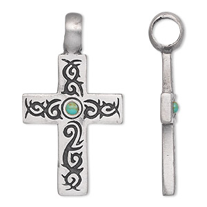 pendant, antiqued pewter (tin-based alloy), turquoise (imitation), blue, 48x26mm single-sided cross. sold individually.