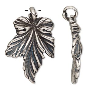 pendant, antiqued silver-plated pewter (tin-based alloy), 37.5x24.5mm single-sided leaf. sold individually.