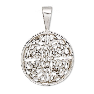pendant, antiqued sterling silver, 23mm round with celtic weave. sold individually.
