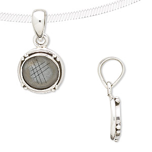 Sterling Silver 4-Prong Setting Sterling Silver 20\u044530 mm Pendant Mounting Round Bezel Pendant Setting 925 Sterling Silver