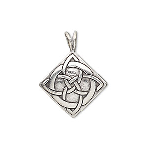 pendant, antiqued sterling silver, 26x20mm single-sided celtic diamond. sold individually.