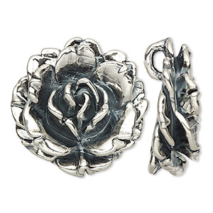 pendant, antiqued sterling silver, 37x37mm-38x38mm flower. sold individually.