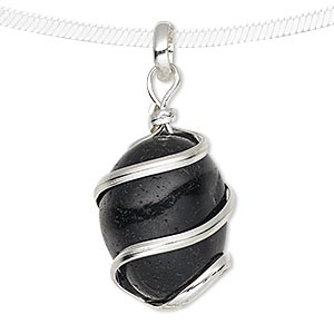 pendant, black agate (dyed) and silver-plated brass, medium to large hand-cut wire-wrapped tumbled nugget. sold individually.