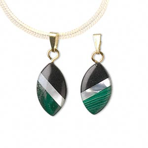 pendant, black onyx (dyed) / mother-of-pearl shell (bleached) / malachite (natural) / gold-finished steel, 16x9mm marquise. sold per pkg of 2.