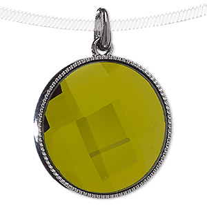 pendant, blue moon beads, glass and gunmetal-finished pewter (zinc-based alloy), olive green, 38mm flat round. sold individually.