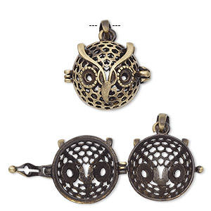 pendant cage, antique brass-finished pewter (zinc-based alloy), 18x17mm round with owl design and safety latch, (2) ss16 flat back settings, fits up to 14mm bead. sold individually.