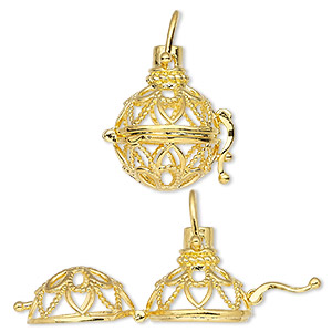 pendant cage, gold-finished brass, 24x18.5mm round with fancy cutout design and safety latch. sold individually.