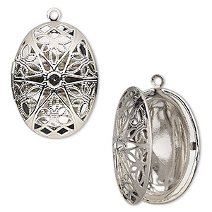 pendant cage, silver-finished brass, 34.5x26mm single-sided hinged oval with cutout flower and pp32 chaton setting with 27.5x18mm oval setting. sold individually.