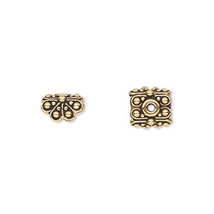 pendant cap, tierracast, antique gold-plated pewter (tin-based alloy), 8.5x8.5mm double-sided square with beaded petals, fits 4.5mm flat-sided bead. sold per pkg of 2.