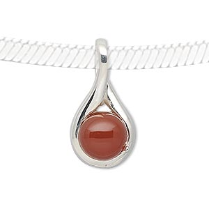 pendant, carnelian (dyed / heated) and sterling silver, 28x14mm teardrop with 10mm round. sold individually.