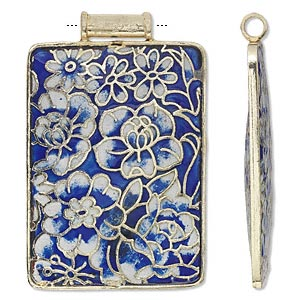pendant, cloisonne, enamel and gold-finished copper, blue and white, 52x37mm rectangle with flowers. sold individually.