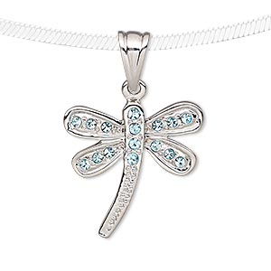 pendant, cubic zirconia and silver-plated pewter (tin-based alloy), blue, 23x22mm dragonfly. sold individually.
