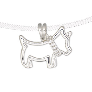 pendant, cubic zirconia and sterling silver, clear, 25.5x20mm open dog. sold individually.