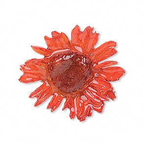 pendant, daisy / polyresin / sterling silver, orange, 20-25mm. sold individually.