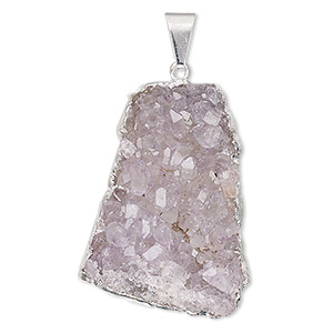pendant, druzy agate (natural) with silver-plated copper and brass, light to medium, 25-35mm freeform. sold individually.