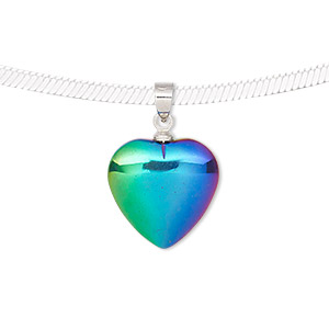 pendant, electroplated hemalyke™ (man-made) and silver-finished brass, rainbow, 22x15mm double-sided heart. sold individually.