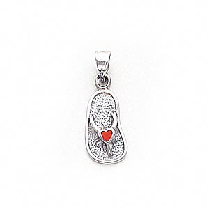 pendant, enamel and 14ktw white gold, red, 16x9mm flip flop with heart. sold individually.