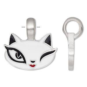 pendant, enamel and antiqued pewter (tin-based alloy), black / red / white, 27mm single-sided cat face. sold individually.