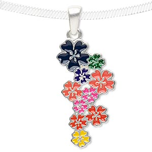 pendant, enamel and silver-finished pewter (zinc-based alloy), multicolored, 33x17mm matte flowers. sold individually.