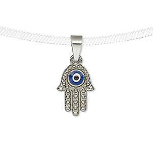 pendant, enamel and stainless steel, blue / white / black, 16x11.5mm two-sided textured fatima hand with wards off the evil eye design. sold individually.