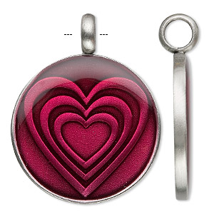 pendant, epoxy and antiqued pewter (zinc-based alloy), fuchsia, 35mm round with hearts. sold individually.