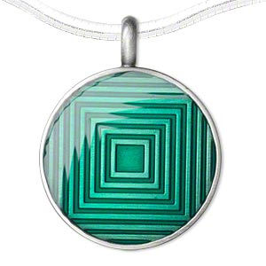 pendant, epoxy and pewter (zinc-based alloy), green, 44x35mm single-sided matte round with graduated square design. sold individually.