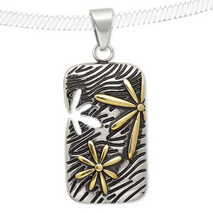 pendant, epoxy with stainless steel and gold-finished stainless steel, black, 35x20mm rectangle with flower cutout and flower design. sold individually.