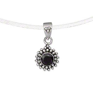 pendant, garnet (natural) and antiqued sterling silver, 12x12mm with 6mm faceted round. sold individually.