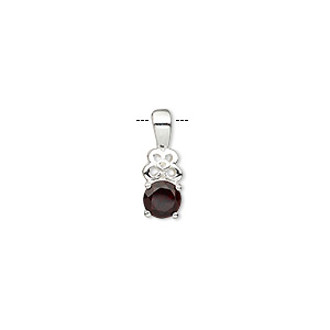pendant, garnet (natural) and sterling silver, 14x5mm with 5mm faceted round. sold individually.