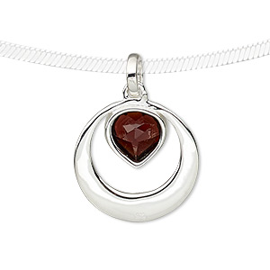 pendant, garnet (natural) and sterling silver, 27mm round with faceted heart. sold individually.