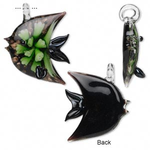 pendant, glass, black and green with copper colored foil, 38x36mm fish. sold individually.