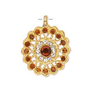 pendant, glass rhinestone and gold-finished pewter (zinc-based alloy), clear and orange, 23mm round. sold individually.