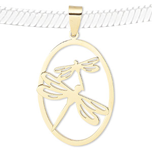 pendant, gold-finished stainless steel, 40x28mm oval with dragonfly cutout design. sold individually.