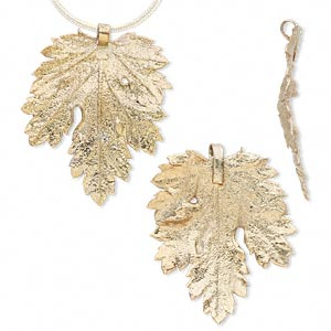 pendant, gold-finished tin and natural leaf, 27x17mm-47x37mm chrysanthemum. sold per pkg of 2.