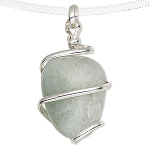 pendant, green aventurine (natural) and silver-plated brass, medium to large hand-cut wire-wrapped tumbled nugget. sold individually.