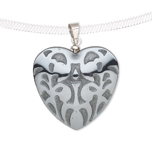 pendant, hemalyke™ (man-made) and silver-finished brass, 25mm two-sided puffed heart with fancy design. sold individually.