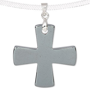 pendant, hemalyke™ (man-made) and silver-finished brass, 31mm double-sided cross. sold individually.