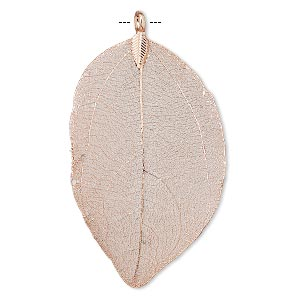 pendant, indian rubber plant and copper-plated brass, 51x33mm-77x51mm leaf. sold individually.