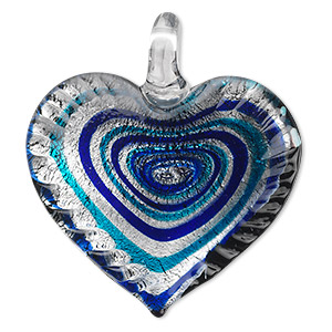 pendant, lampworked glass, black / blue / dark blue with silver-colored foil, 42x40mm single-sided wavy heart with swirl design. sold individually.