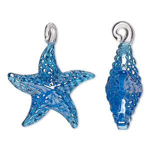 pendant, lampworked glass, blue luster, 30x24mm double-sided starfish. sold per pkg of 2.